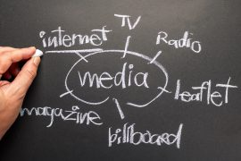 Hand writing Media Channels on chalkboard